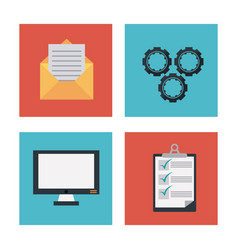 colorful background with office icons set vector image