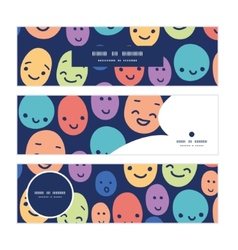 Funny faces horizontal banners set pattern vector