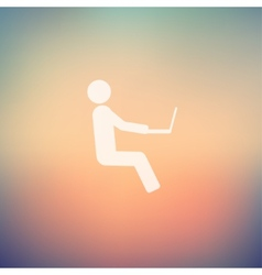 Man sitting with laptop in flat style icon vector