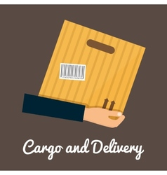 Cargo and delivery hands holding cardbox vector