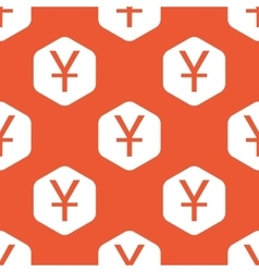 Orange hexagon yen pattern vector