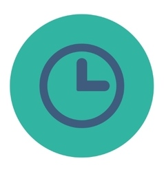 Clock flat cobalt and cyan colors round button vector