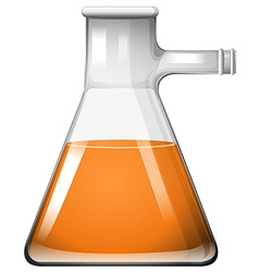 Orange liquid in glass beaker vector