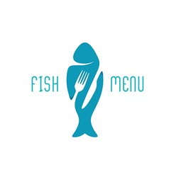 Fish food restaurant menu title logo Silhouette of vector image