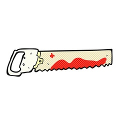 Comic cartoon bloody saw vector