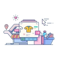 Shop online design flat vector
