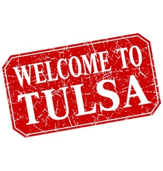 Welcome to tulsa red square grunge stamp vector
