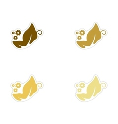 Concept of paper stickers on white background vector