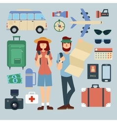 Tourist man and woman with set of travel elements vector