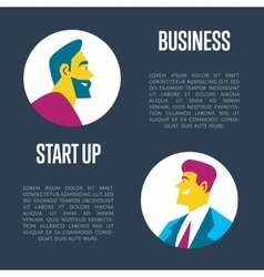 Business start up banner Side view of businessman vector image vector image