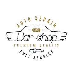 Car shop emblem in thin line style vector