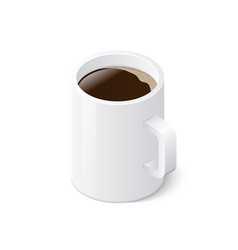 coffee mug isolated on white background isometric vector image