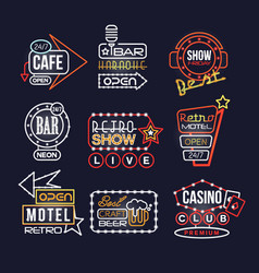 colorful glowing signboards set retro neon street vector image