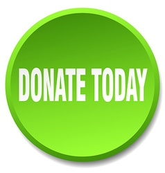 Donate today green round flat isolated push button vector