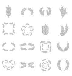 Ear corn icons set monochrome style vector