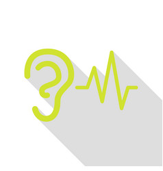 Ear hearing sound sign pear icon with flat style vector