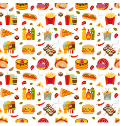 Fast food and streetfood seamless pattern vector