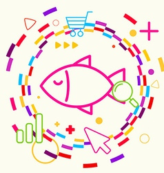 Fish on abstract colorful geometric light vector image
