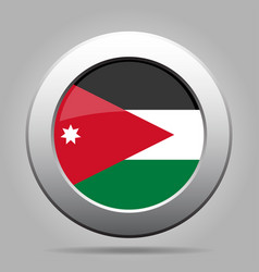 Flag of jordan shiny metal gray round button vector