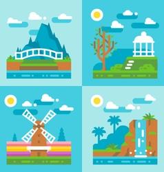 Flat design spring nature landscape vector