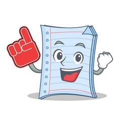 Foam finger notebook character cartoon design vector