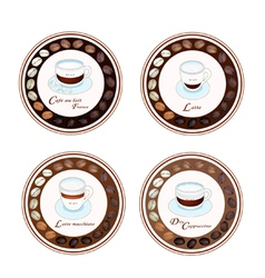 Four kind of coffee beverage in retro round label vector