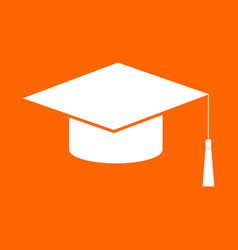 Graduation cap white icon vector