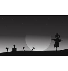Halloween scarecrow in tomb vector