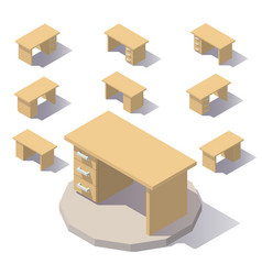 Isometric low poly table vector