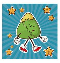 Kawaii japanese food angry character vector