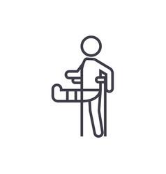 Man with broken leggypsum foot crutch line vector