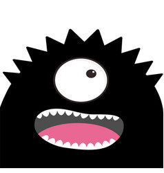 monster head with one eye teeth tongue black vector image