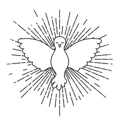 pigeon peace symbol front view with linear vector image vector image