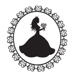 Princess silhouette with flowers in vintage frame vector