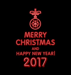 Red merry christmas and happy new year 2017 neon vector