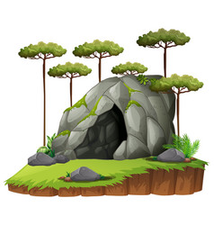Scene wtih cave and trees vector