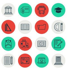 Set of 16 education icons includes library vector