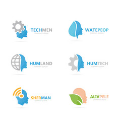 set of people logo combination body and face vector image vector image