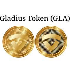 Set of physical golden coin gladius token gla vector
