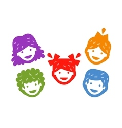 Smiling kids on a white background vector