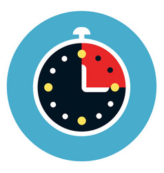 stop watch icon on round blue background vector image vector image