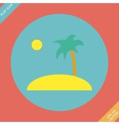 Tropical sea small island - vector