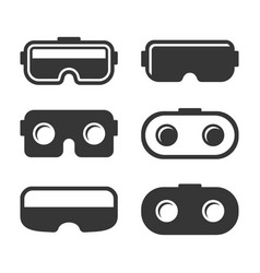 vr headset icons set on white background vector image