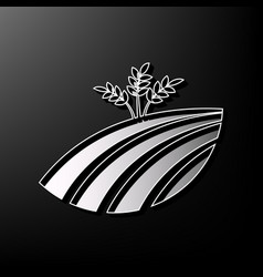 Wheat field sign gray 3d printed icon on vector