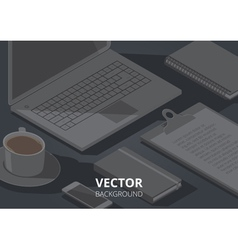 background office object a4 horizontal vector image