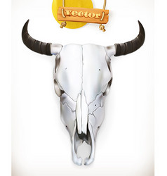 Cow skull Western adventure 3d icon vector image