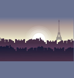 silhouette of city france with eiffel tower vector image