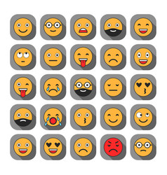 Colored flat icons of emoticons smile with a vector