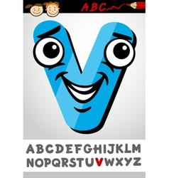 funny letter v cartoon vector image