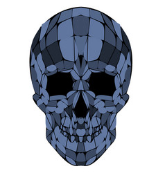 abstract polygonal blue skull on a background vector image